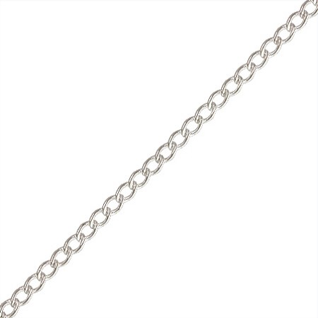 Sterling Silver Curb Chain by the Foot - 1.05 mm