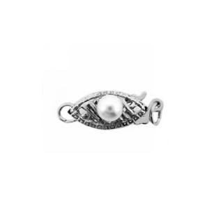 Pearl Clasp w/Pearl Medium Weight 14K White Gold