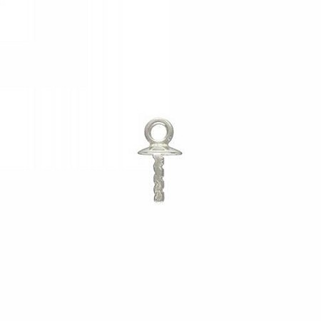 Screw eye w/Loop  3mm Cup & Peg - Sterling Silver