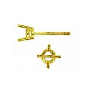 Earrings 4-Prong Round Basket  w/Screw Post 14K Yellow Gold