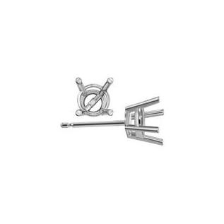 Sterling Silver 4-Prong Round Basket Stud Earring Settings .5ct