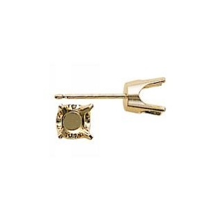 Earstud -  4-Prong Round Earring Setting 14K Yellow Gold