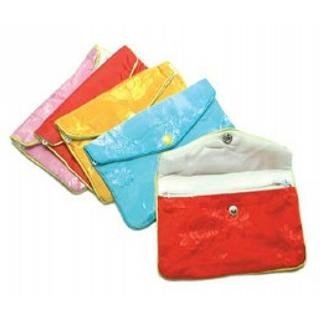 "Satin Pouch with Zip - 3"" x 2.5"" - Assorted colors 12 Pack"