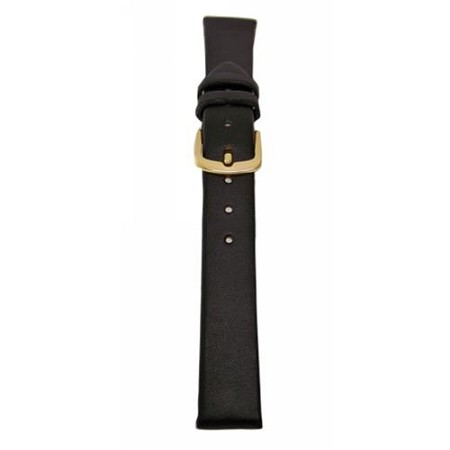 Men's Black Genuine Leather Watch Band 20mm Regular