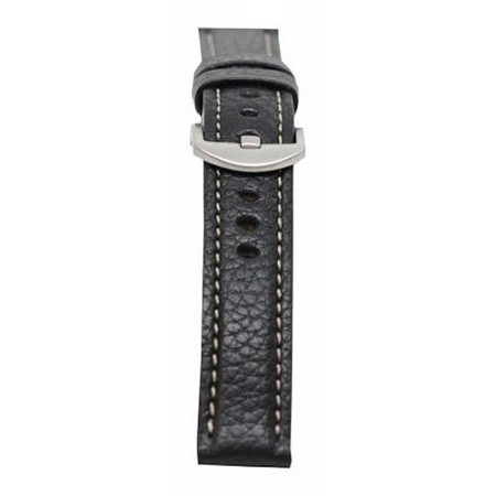 Men's Black Genuine Vegetable Tanned Leather w/Contrast Stitching Watch Band 22mm