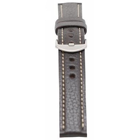 Men's Brown Genuine Vegetable Tanned Leather w/Contrast Stitching Watch Band 22mm