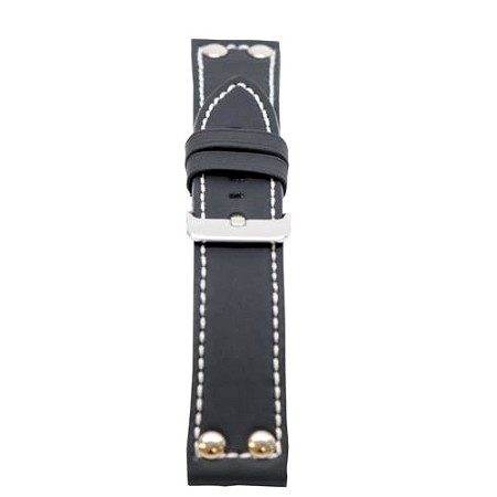 Men's Black Rubber/Leather w/Rivets Watch Band 20mm