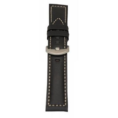 Men's Black Oil Tan Aniline Leather Watch Band 22mm
