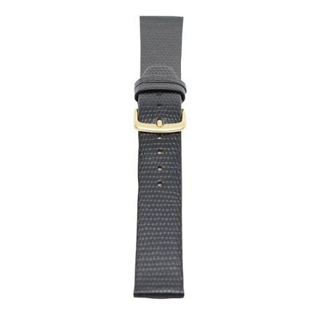 Mens Black Genuine Java Lizard Watch Band 18mm LONG