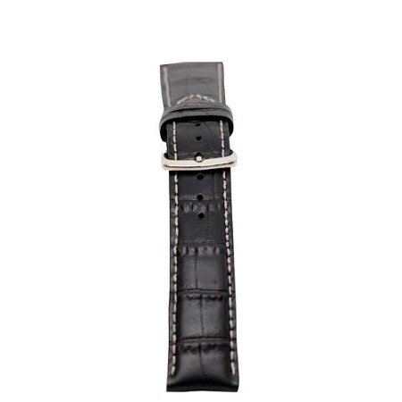 Mens Black Genuine Calfskin Leather - Alligator Grain - Watch Band 20mm