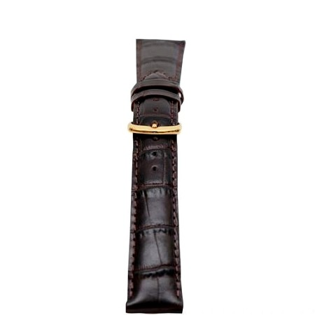 Mens Black Calfskin Leather Alligator Grain Watch Band 18mm