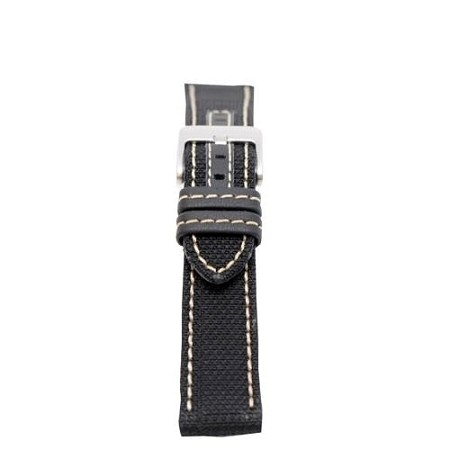 Men's Black w/White Stitching Genuine Kevlar Watch Band 20mm