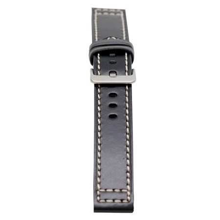 Men's Black Genuine Saddle Leather Watch Band 20mm