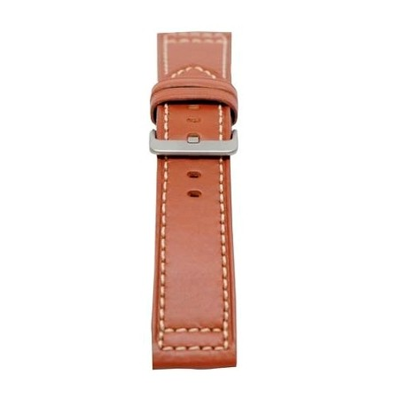 Men's Tan Genuine Saddle Leather Watch Band 24mm