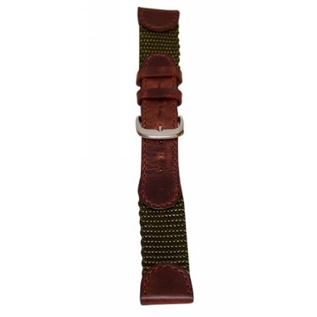 Men's Olive Leather & Nylon  Watch Band 20mm Reg. Swiss Army Style