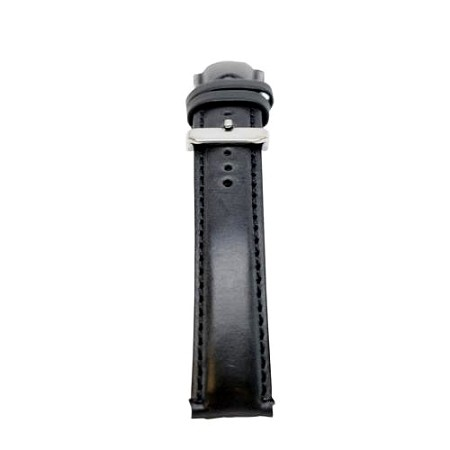 Men's Black Oil Tan Leather w/Colored Stitching Watch Band 20mm