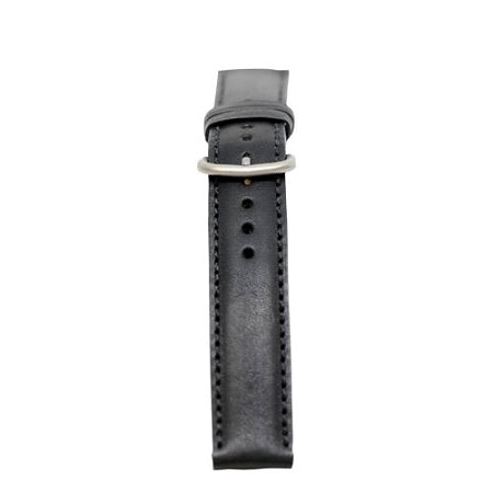 Men's Black Genuine Leather Stitched Watch Band 20mm