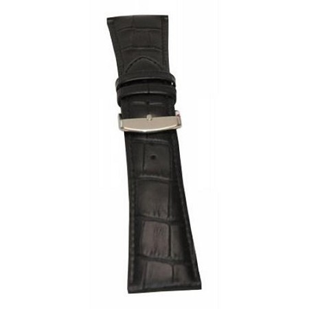 Men's Black Alligator Grain Wide Watch Band 28mm