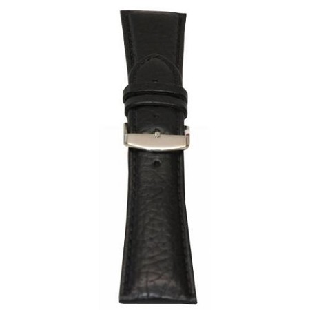 Men's Black Shrunken Grain Leather Wide Watch Band 24mm