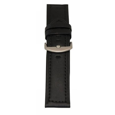 Men's Black Genuine Leather Wide Watch Band 24mm