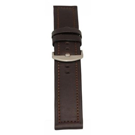Men's Brown Genuine Leather Wide Watch Band 22mm