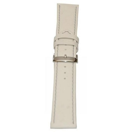 Men's White Genuine Lorica Wide Watch Band 24mm