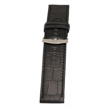 Men's Black Alligator Grain Wide Watch Band 26mm