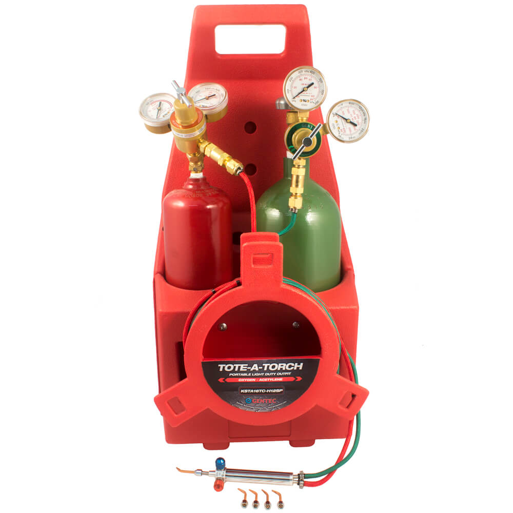 Gentec Caddy Small Torch Kit Oxy/Acetylene w/tip#2-6 Regulators,Cylinders  and Carrier